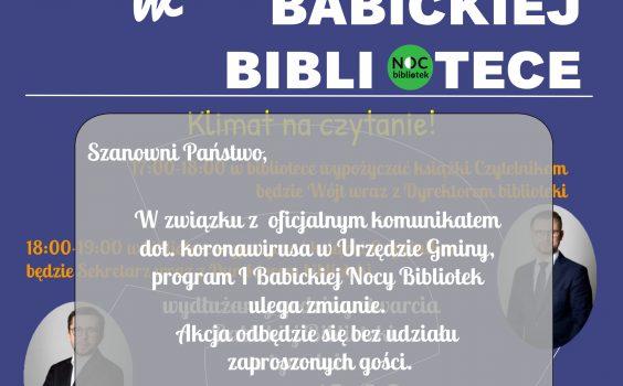 Program I Babickiej Nocy Bibliotek ulega zmianie.