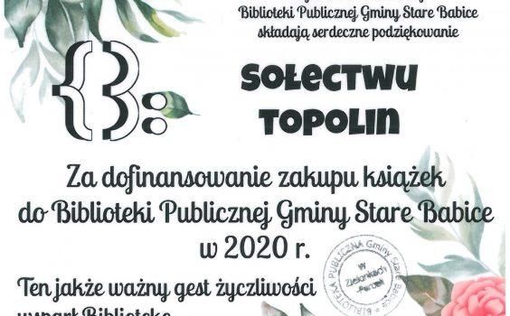 Podziękowanie dla sołectwa Topolin.
