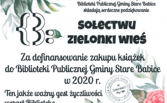 Podziękowanie dla sołectwa Zielonki Wieś.