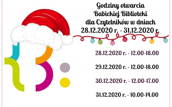 Godziny otwarcia Babickiej Biblioteki dla Czytelników w dniach 28.12.2020 r. – 31.12.2020 r.
