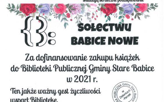 Podziękowanie dla sołectwa Babice Nowe.