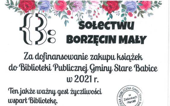 Podziękowanie dla sołectwa Borzęcin Mały.