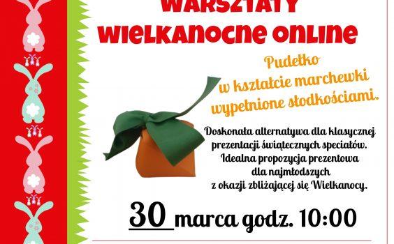 Pudełko w kształcie marchewki wypełnione słodkościami, czyli marcowe robótki zręczne online.
