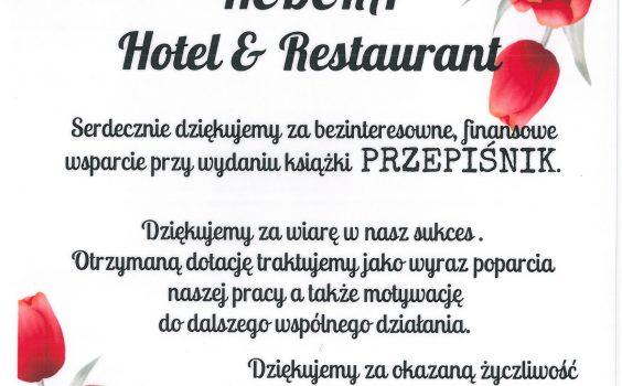 Zapowiedź PRZEPIŚNIKA – Podziękowanie dla HEDERA Hotel & Restaurant.